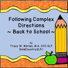 Back to School Following Complex Directions FREEBIE!