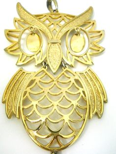 Vintage Owl Pendant Gold Tone Large Full Body Moving Eyes Open Fretwork Texture #Unknown #Pendant