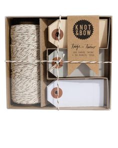 Knot & Bow Tag & Twine Box Copper Neutral