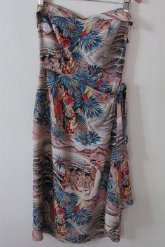 vintage 1940's HAWAIIAN rayon SARONG dress EUGENE SAVAGE SURFRIDERS SPORTSWEAR