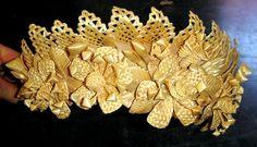 Wheat straw weaving tiara crown.
