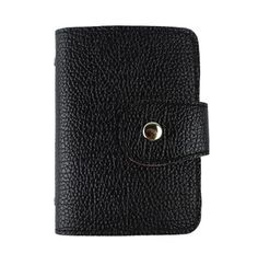 Snakeskin Textured Black Colour PU Women Cardholder with Magnet Closing