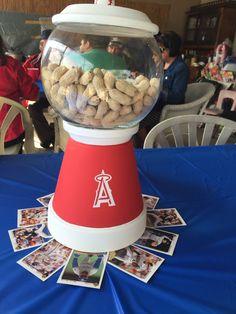 Anaheim Angels baseball theme gum ball machine (hand painted)