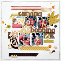 Carving & Bobbing - Scrapbook.com - Fun apple bobbing photos and fall colors come together perfectly in this cute layout.