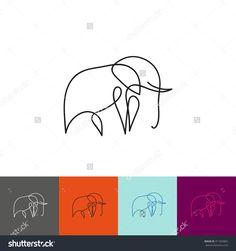 One line elephant design silhouette. Hand drawn minimalism style vector illustration