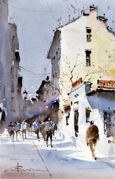 Corneliu Dragan-Targoviste | urban landscape watercolour