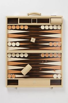 We played backgammon nonstop in the 70s - at college, at parties, at bars, at the beach, at the pool... and lots of us had this brief case type of set so we could take the game everywhere.