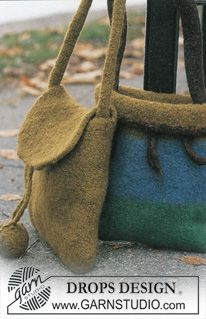 DROPS 86-14 - DROPS Felted Purses in Eskimo - Free pattern by DROPS Design