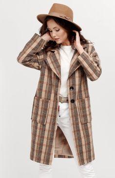 Roco Oversizowy płaszcz w kratę 0014/A07 Bohemian, Style, Fashion, Moda, Fashion Styles, Boho, Fashion Illustrations, Stylus, Bohemia