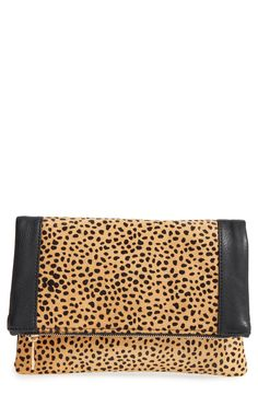 Sole Society Jemma Leopard Print Genuine Calf Hair Foldover Clutch available at #Nordstrom