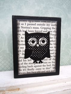 Polka Dot Owl Art Wood Block - Forest Friends, Baby Owl, Black And White, Nursery Decor, Kids Room, Baby Room, Forest Animals,Girls Room. $10.00, via Etsy.