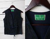 1980's Vintage Knit Suede Boho Bohemian Indie Hippie Navy Blue Wrap Up Vest / Size L / Women Body Warmer