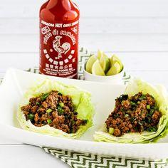 Low-Carb Sriracha Beef Lettuce Wraps found on KalynsKitchen.com