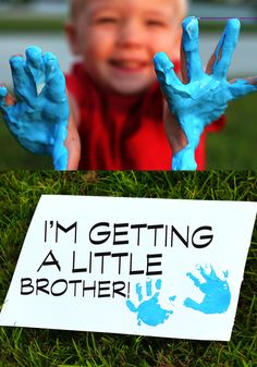 Gender reveal with my three year old son. Big brother!