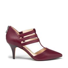 Women's Cranberry Leather 3 Inch T-strap Heel | Mallory by Sole Society