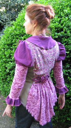 Fuchsia Frock Coat made from upcycled cotton t shirts by CouturierFaerieVerte. Upcycling Clothing, Refashioned Clothing, Altered Clothes, Diy Clothes, Clothes For Women, Hippy Style, Bustle Dress, Frock Coat, Altered Couture