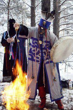 Siberian Shaman doing a kamlanie (ritual), Krasnoyarsk, Southern Siberia.
