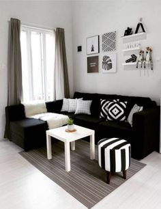 Fancy Sofa Design Ideas For Minimalist Living Room To Try, Home Living Room, Apartment Living, Interior Design Living Room, Living Room Designs, Black Sofa Living Room Decor, Apartment Couch, Apartment Furniture, Bedroom Decor, Decor Room