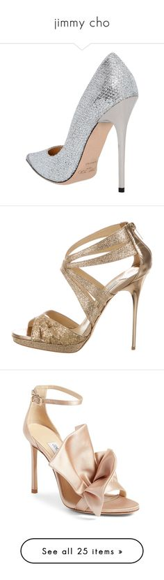 """""""jimmy cho"""" by virginia-san ❤ liked on Polyvore featuring shoes, pumps, metallic pumps, high heeled footwear, jimmy choo pumps, pointy toe high heel pumps, lace high heel shoes, sandals, gold and glitter sandals"""