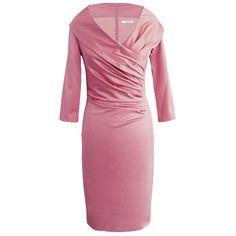Elegantes rosa Kleid von Fashionart. Das Kleid mit Kragen ist seitlich gerafft, sehr schmal geschnitten und eignet sich perfekt für eine exklusive Gartenparty.