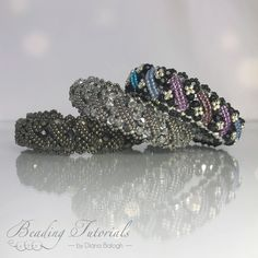 Beading tutorial and pattern, Andrea bracelet beading pattern, bracelet beading tutorial, Swarovski bicone crystal beading tutorial