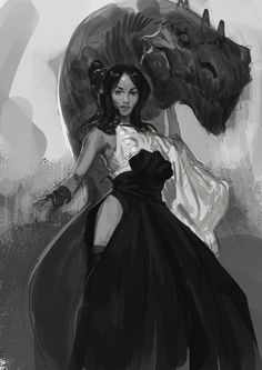 A Dragon and it's Lady Dragon Handler by Even Mehl Amundsen #dragon #fantasy