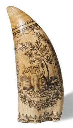 "Scrimshaw Whale's Tooth with "" Sailor's Farewell ""  Scene, Mid-19th Century."