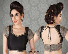 Black Stunning Chanderi Fabric Saree Blouse http://rajasthanispecial.com/index.php/black-stunning-chanderi-fabric-saree-blouse.html