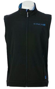 Cinch Men's Black w/ Blue Embroidery Bonded Vest