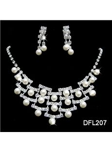 "Elegant Pearl And Alloy with Rhinestone Wedding Jewelry Set Including Necklace and Earrings from  ""Eric Dresses"" on discounted prices. Use coupon and promotional Codes."