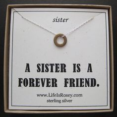Sister Gift Quote Card Necklace For Bronze Eternity Circle
