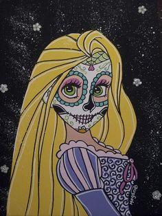Rupunzel Sugar Skull Canvas Print