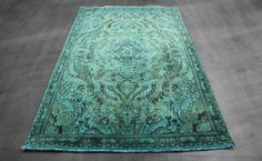 5×8 OVERDYED PERSIAN TABRIZ DESIGN TEAL BLUE GREEN RUG WOH-1352  http://westofhudson.com/product/overdyed-persian-tabriz-design-teal-blue-green-rug-4-ft-9-in-7-ft-8-in-3/