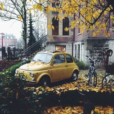 What a beautiful backdrop for this happy Fiat