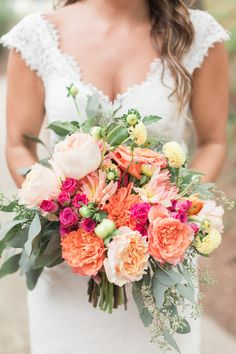 Orange, blush, and yellow bridal bouquet | Alicia Lacey Photography | see more on: http://burnettsboards.com/2016/01/darling-outer-banks-wedding/