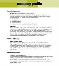 Example Of Company Profile Template Cool Company Profile  Pinterest  Company Profile Profile And Business .