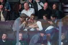 LOL. Kristen Bell got a baby bump belly rub at the Kings game on Wednesday night.