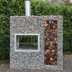 Vertical wooden gabion barbecue - New Deko Sites
