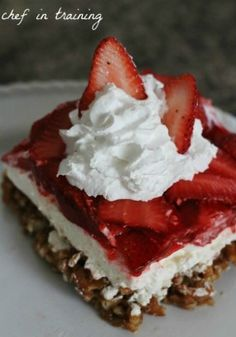 Strawberry pretzel salad..my granny used to make this might have ro try and see if its the same. Oh how I miss her:-(