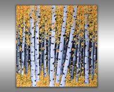Abstract Yellow Birch Trees Painting Aspen Forest Textured Landscape Original Art 20x20 Float Canvas Modern Palette Knife Artwork by ZarasShop