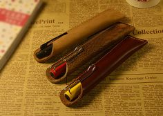 Handmade Retro Personalized Genuine Leather Pen Case Pen Holder Leather Pen Pouch Graduation Fathers Day Gift