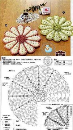 New Crochet Patrones Ganchillo Cuadrados 70 Ideas - Diy Crafts Crochet Potholder Patterns, Crochet Coaster Pattern, Crochet Mandala Pattern, Crochet Motifs, Crochet Dishcloths, Crochet Flower Patterns, Doily Patterns, Crochet Squares, Crochet Designs