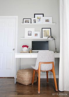 How to create a small desk work area in your master bedroom. If you live in a small home this could be the perfect solution for an office!