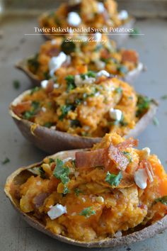 Twice Baked Loaded Sweet Potatoes with Bacon, Kale, Goat Cheese ...