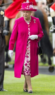 For the 2015 Royal Ascot, Queen Elizabeth donned a cheery fuschia coat and hat worn over a white-and-fuschia floral print dress. from InStyle.com