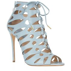 Elie Saab Lace Up Sandal ($1,205) ❤ liked on Polyvore featuring shoes, sandals, chaussure, laced sandals, elie saab, lace up shoes, lace-up sandals and cutout sandals