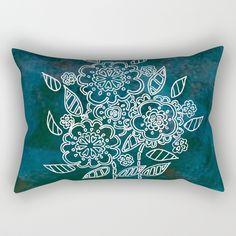 Blue flowers Rectangular Pillow by seelas Oversized Throw Pillows, Down Pillows, Poplin Fabric, Pillow Inserts, Blue Flowers, Handicraft, Hand Sewing, Sleep, Comfy