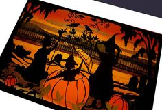 Witches and Pumpkins Mixed with Cats Original Art by NancyMichalak, $4.25