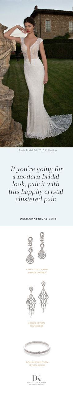If you're going for a modern bridal look, pair it with this happily clustered pair. Bridal Looks, Special Day, Elegant Wedding, Wedding Styles, Fashion Jewelry, Glamour, Bride, Bridal Fashion, Wedding Dresses