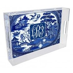Blue Willow Lucite Tray-Can be Personalized-Available in Two Different Sizes-CHRISTMAS 2015 DEADLINE HAS PASSED